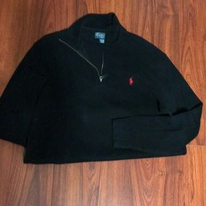 Black Zip-Front Polo Sweater